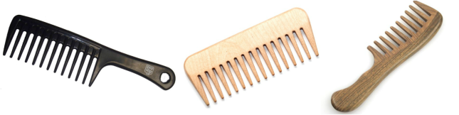 wide-tooth-comb used for combing 100% genuine human hair extensions
