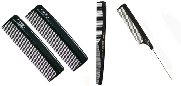 fine tooth comb used to comb 100% genuine human indian hair extensions